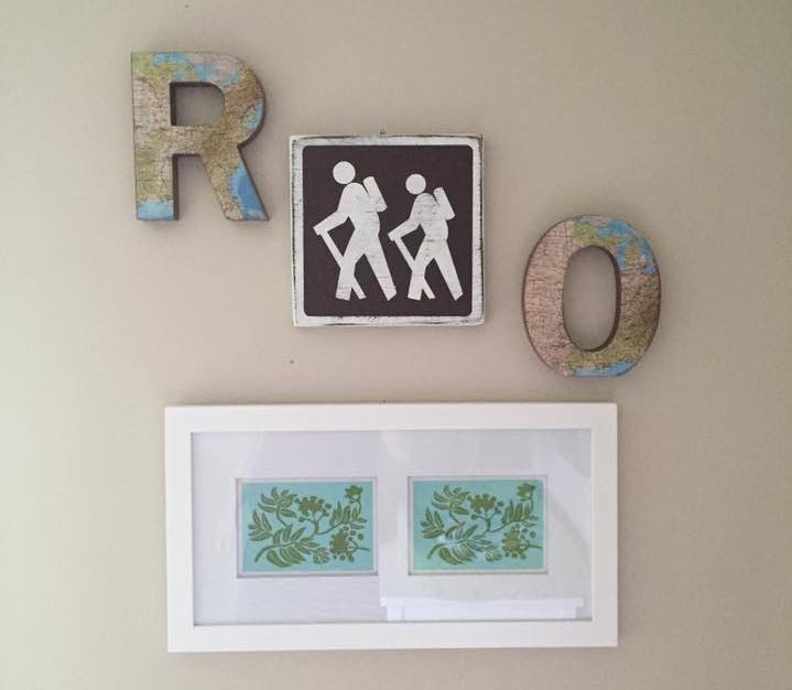A subtle way of incorporating hiking and travel into the boys' room.  The prints are of rowan leaves, where my little guy got his name.