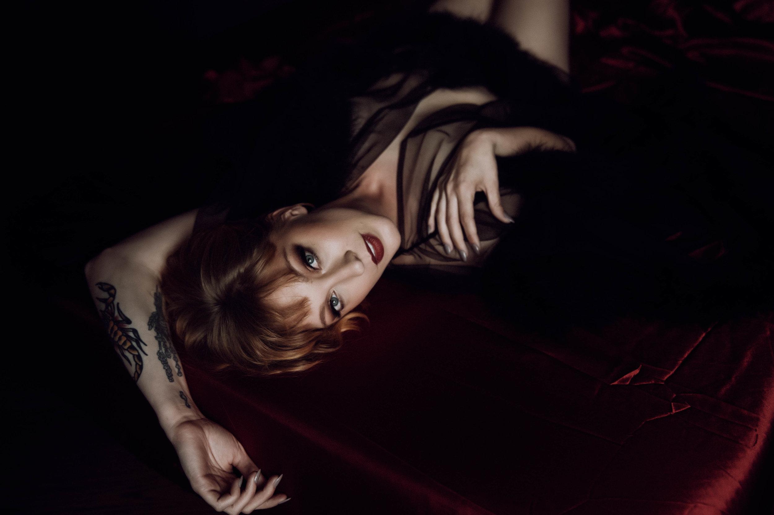 Redhead in black robe intimate boudoir photography new york city studio
