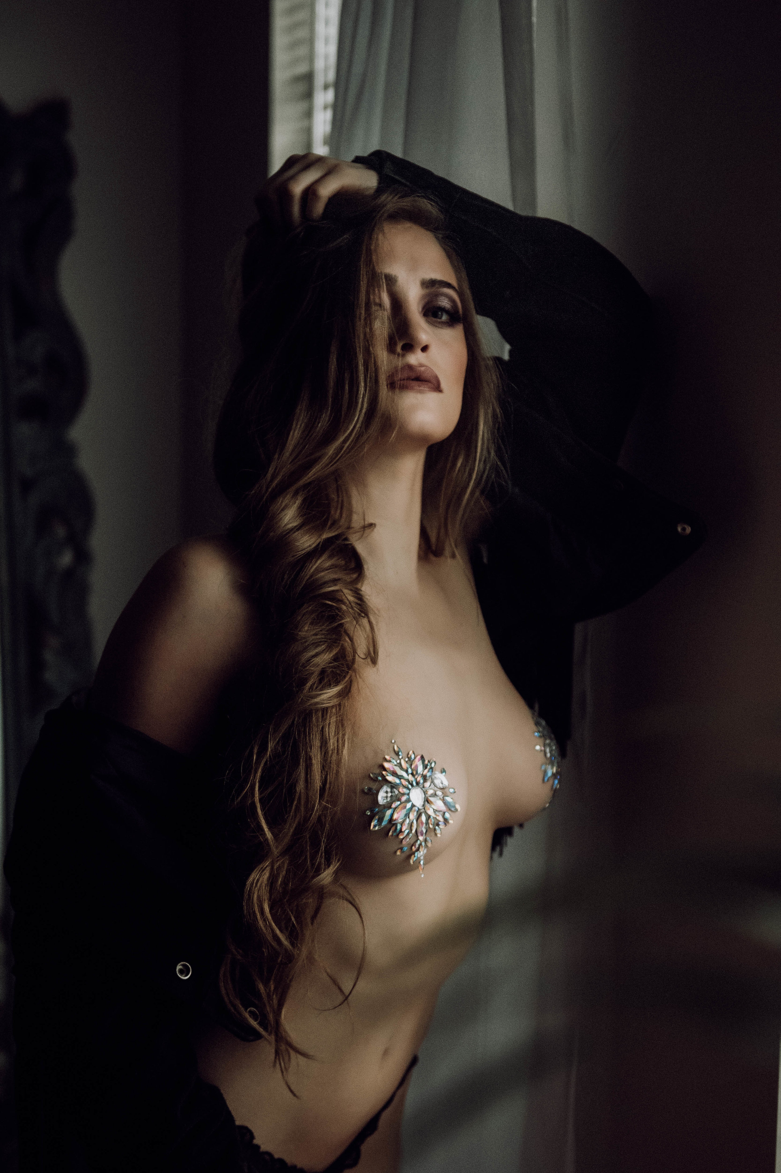 Sexy close up portrait of brunette with jewels boudoir photography New York City