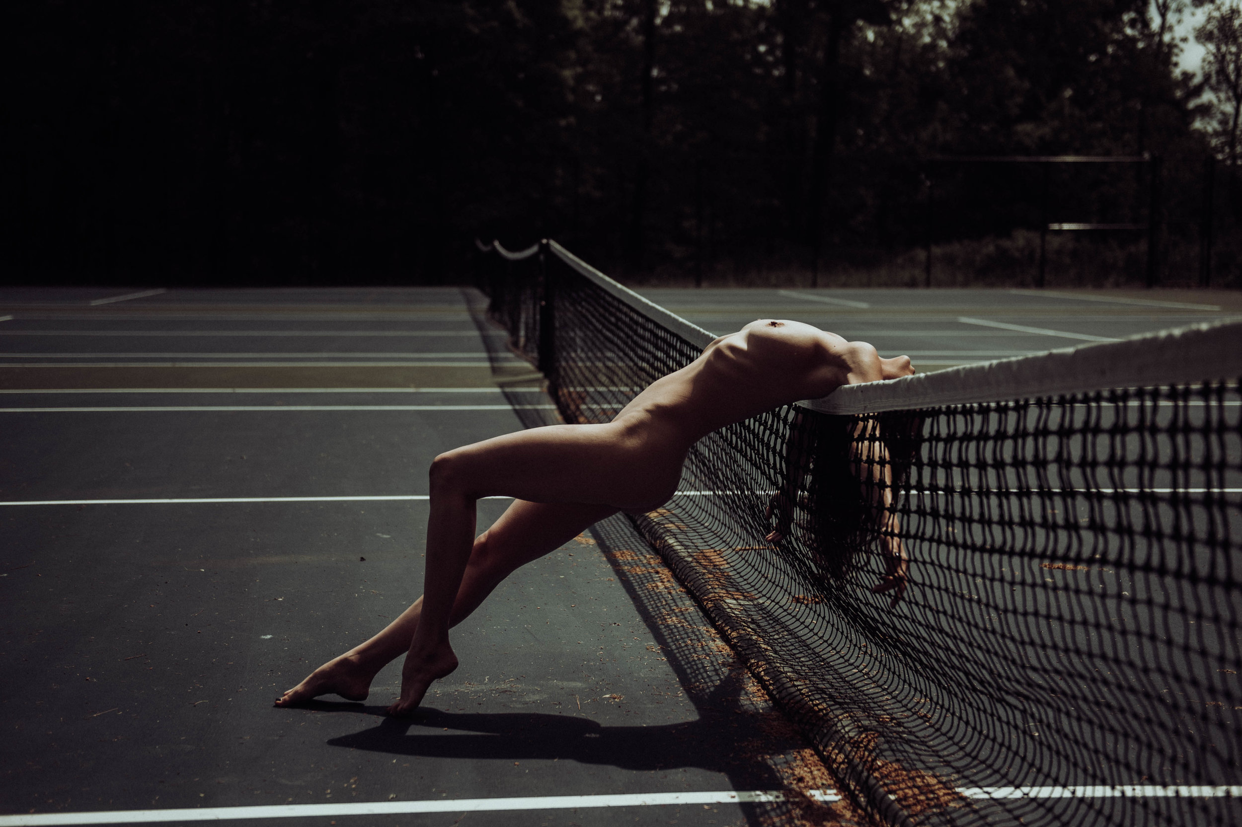 Erotic nude outdoors photography Tennis Court Taylor Oakes Boudoir photography New York Studio