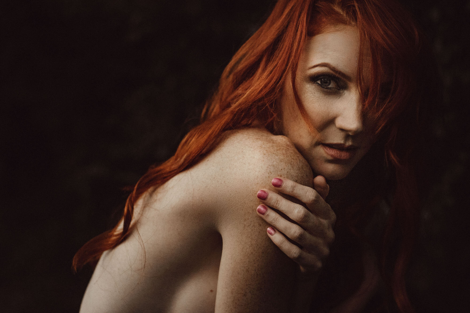 Redhead with hand on shoulder Outdoor New York City Boudoir Photography