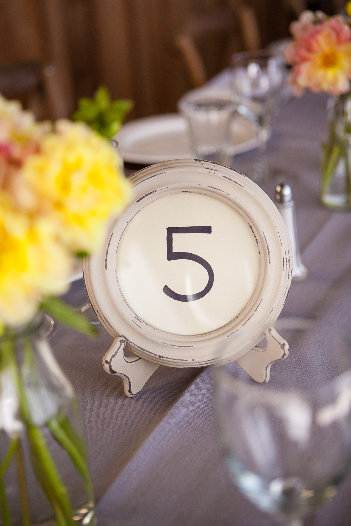 Distressed Cream Table Number Frames