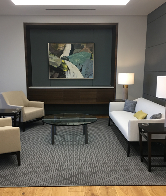 """SOLD Endless Arc of Falling Water, Mixed Media on Linen, 38 X 50"""" Installed in a corporate office in Charlotte, NC"""