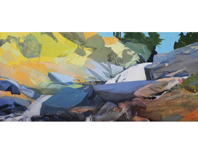 """SOLD Falls Creek Panorama, 2014, Mixed Media on Linen, 34 X 74"""" Collection  Orange County Regional Medical Center, Middletown, NY"""