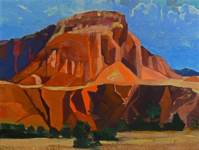 """Red Rocks, As Above So Below, 2016 Mixed Media on Linen, 38 X 50""""  Depicts Kitchen Mesa near Ghost Ranch, NM Available September 4 to November 4 from Butters Gallery, Portland, OR"""