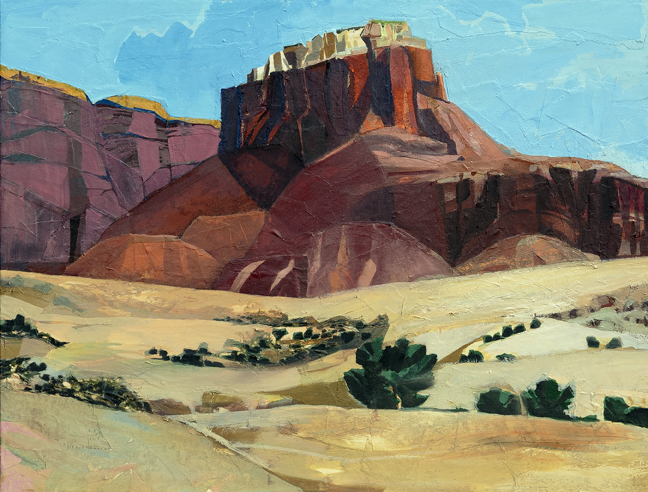 """Red Rocks, Blue Skies From Now On, 2016 Mixed Media on Linen, 38 X 50""""  Depicts Kitchen Mesa near Ghost Ranch, NM Available September 4 to November 4 from Butters Gallery, Portland, OR"""