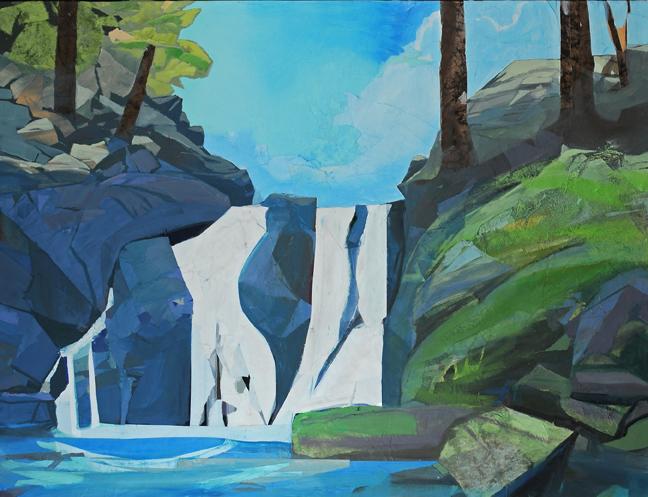 - Waterfall, Bluestone Ledge, 2013Mixed Media on Linen, 38 X 50