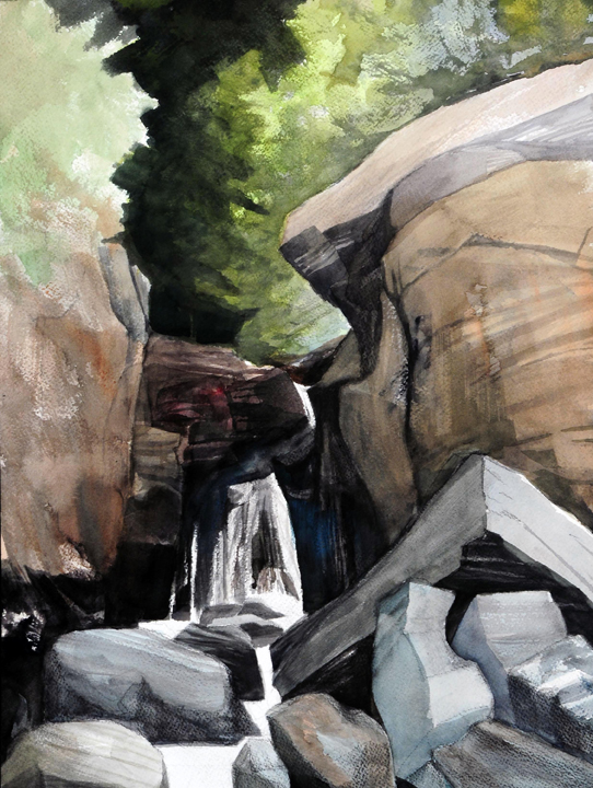 "Fawn's Leap, Darkness in the Grotto, Sunlight Beyond, 2008  Watercolor/gouache on paper 16 X 12"" Studio Fenario"
