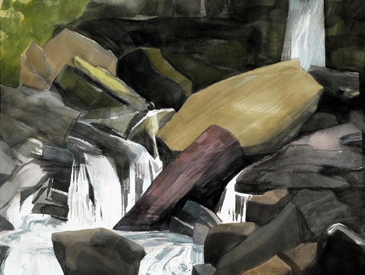 """Light, Dark, Wet Dry, 2009 Watercolor/gouache on paper, 12 X 16""""  Studio Fenario"""