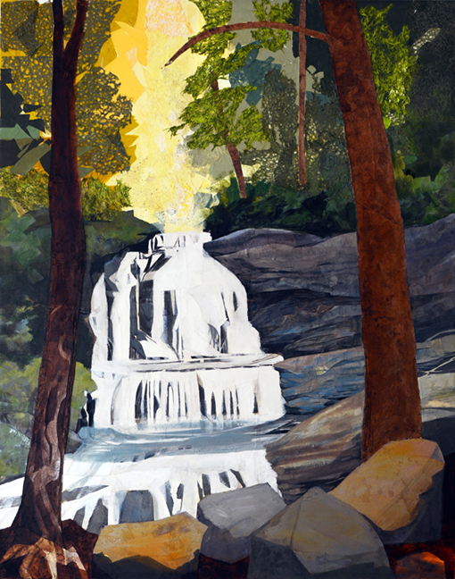 """Pearsons Falls, Sunlit oil paint/mixed media on linen, 76 X 60"""" will become a beacon of hope and and offer the reassuring presence of nature in a home in Washington DC."""