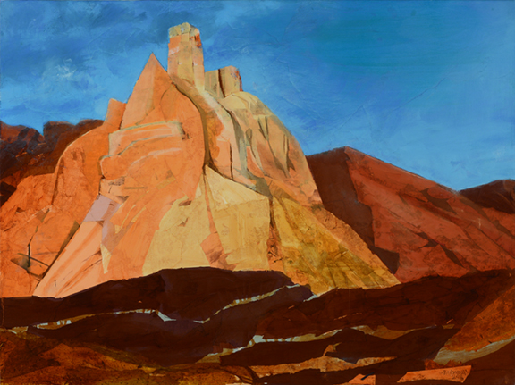 """Chimney Rock, Ghost Ranch, NM, 2016 Oil paint/mixed media on linen, 30 X 40"""" Available September 4 to November 4 from Butters Gallery, Portland, OR"""