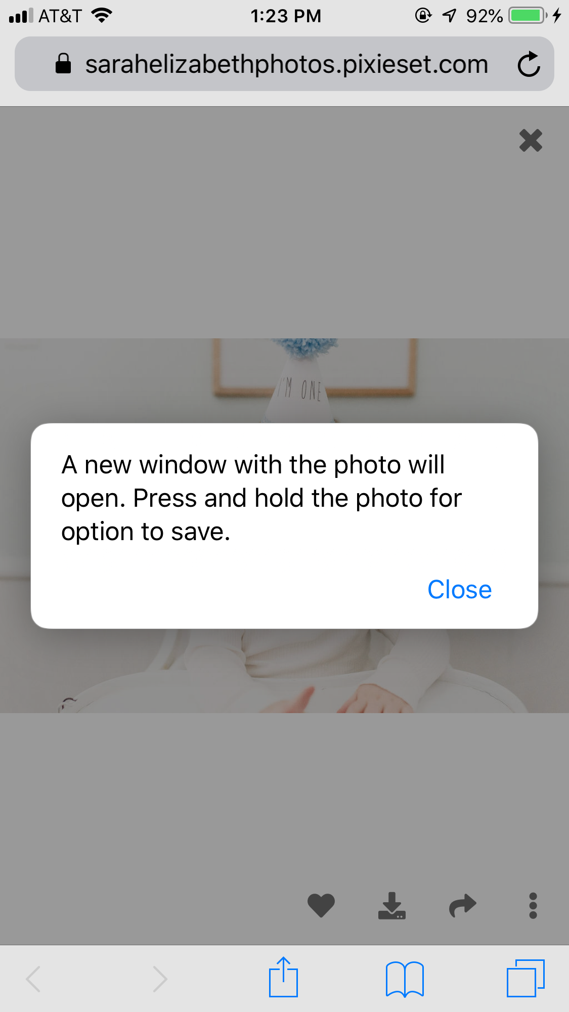 "After clicking the ""download icon"" a message will pop up (pictured) directing you to press and hold the photo to save.You can click ""close"" to get to this next step. -"