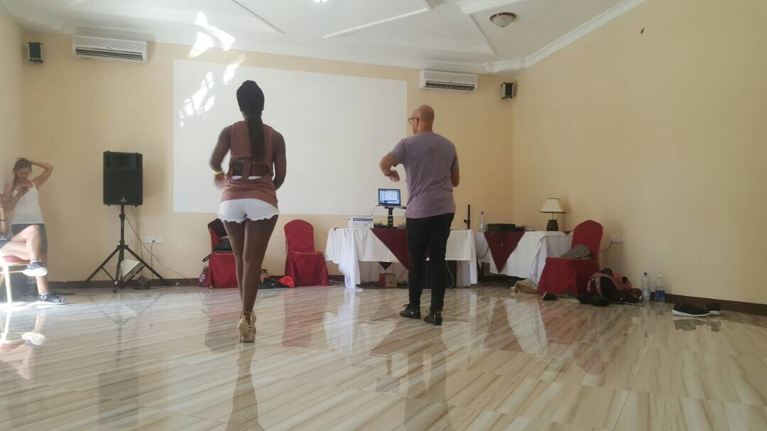 Maria Mvungi & Troy Anthony in cha cha cha class