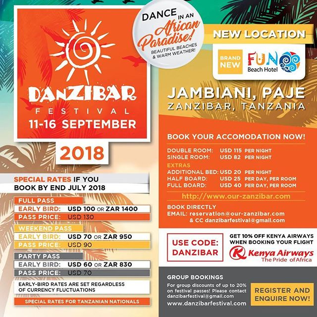 Don't miss @danzibarfestival 2018!! Amazing flight and hotel discounts! Stunning part of #Zanzibar island!  #MIMO #NOFOMO #dancinginparadise