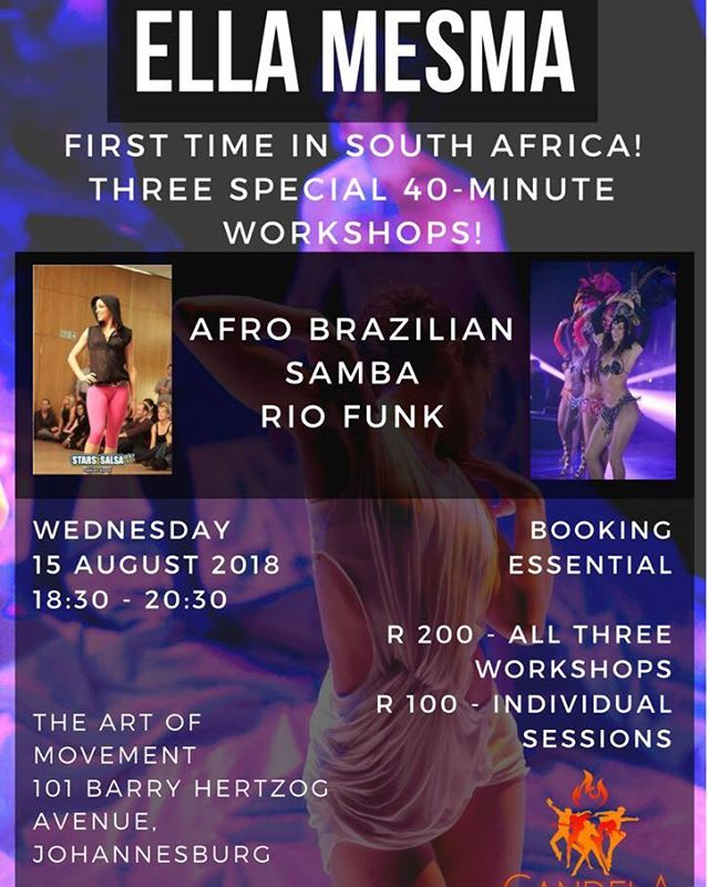 This Wednesday! Do not miss @ellamesma herself in #johannesburg @theartofmovementsa! #afrobrazilian #samba and Rio style funk / baile funk! Special surprise workshops! Contact us to book!!