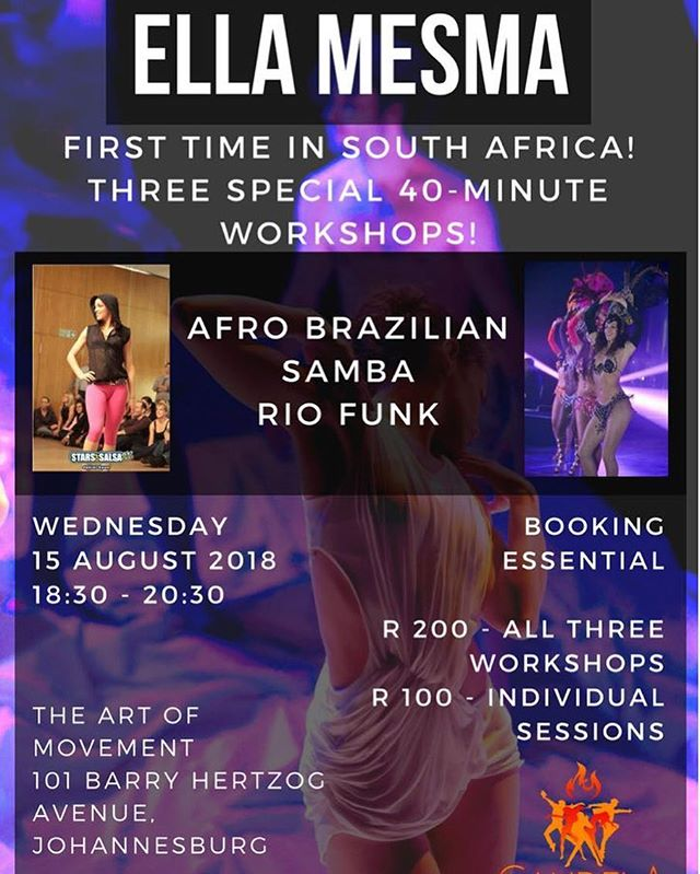 Book now for this Wednesday's special #Brazilian workshops with @ellamesma!  0847114373 - call or Whatsapp
