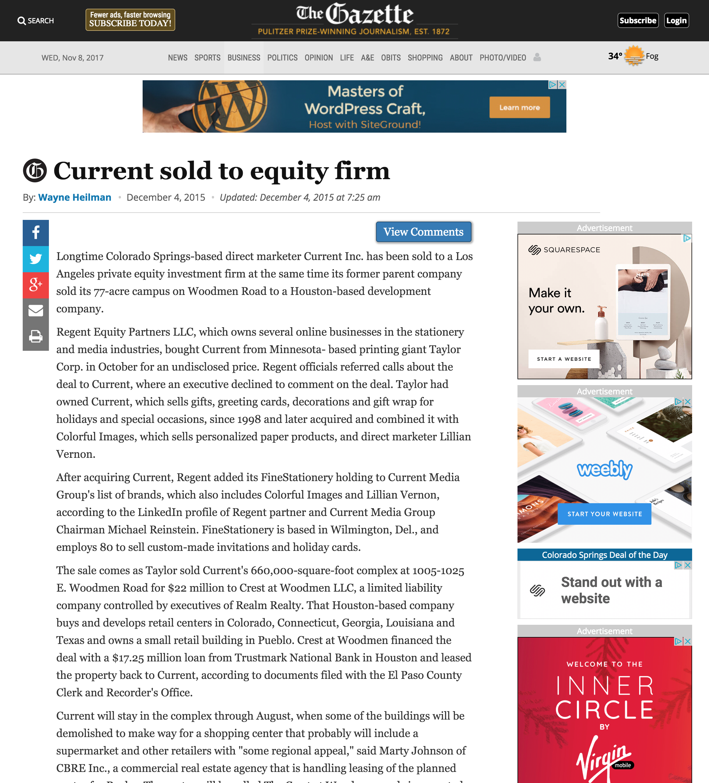 Current Inc. Sold to Equity Firm - The Gazette, December 4, 2015
