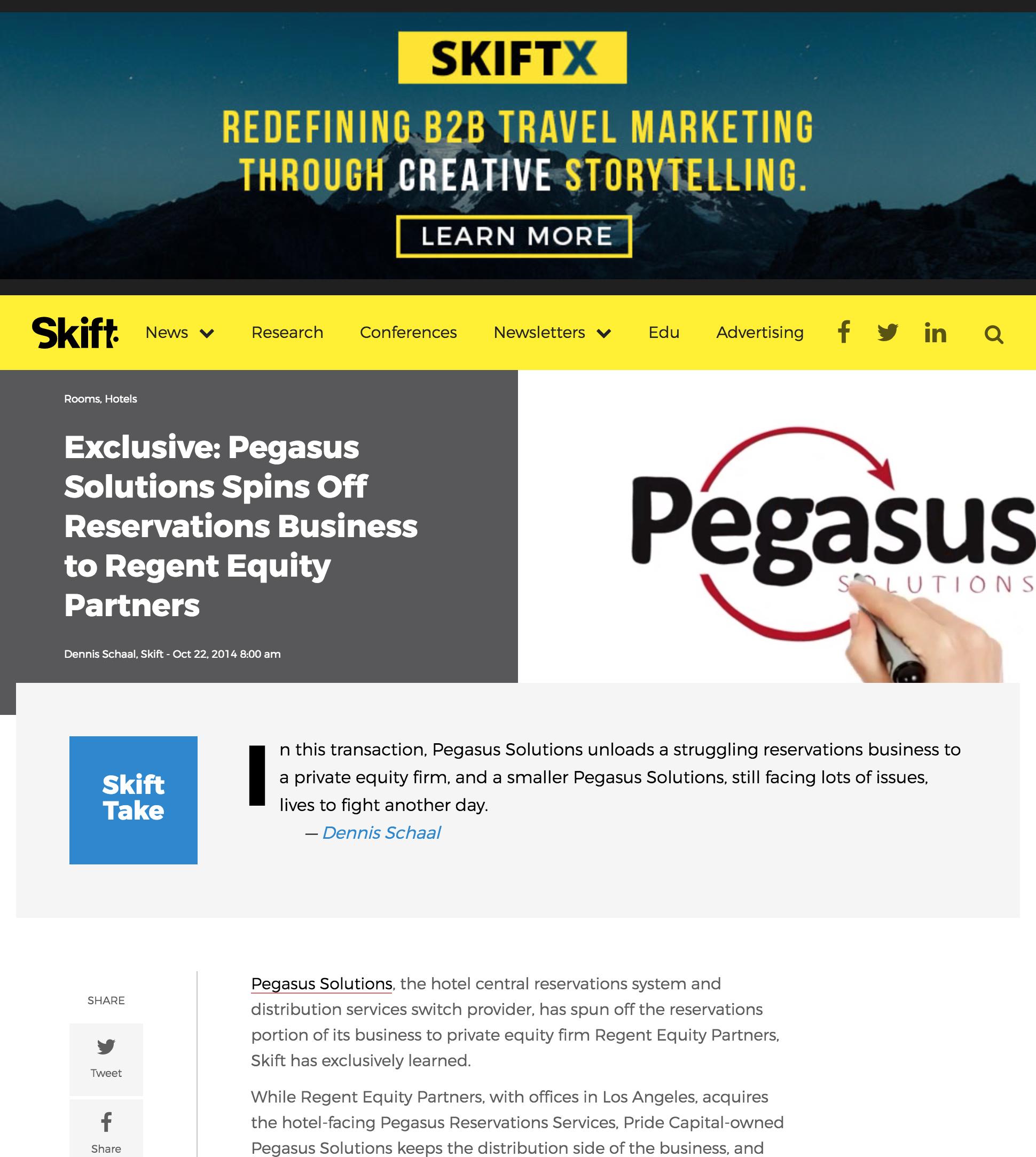Pegasus Solutions Spins Off Reservations Business to Regent - Skift, October 22, 2014