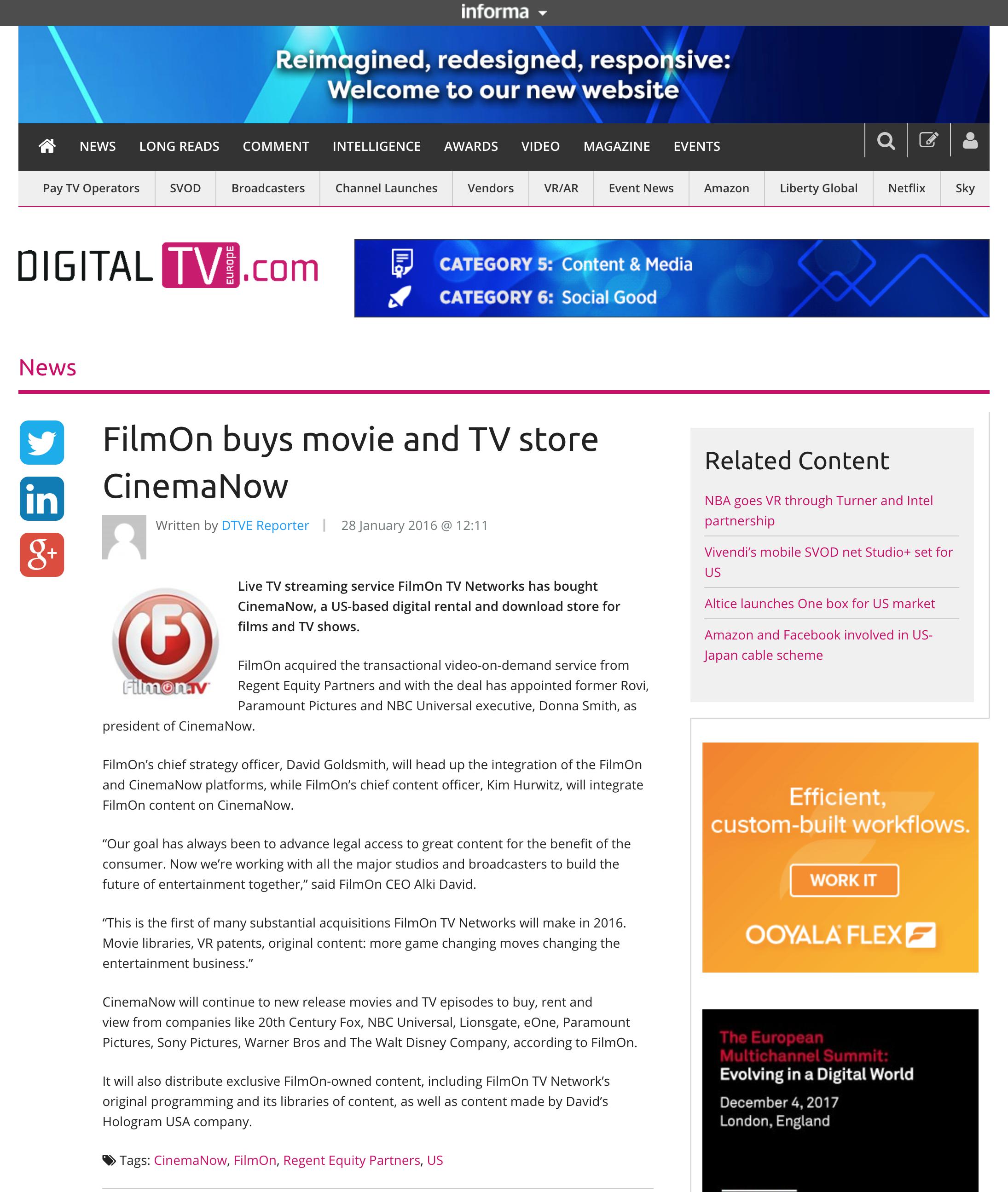 FilmOn Buys Movie and TV Store CinemaNow - Digital TV Europe, January 28, 2016