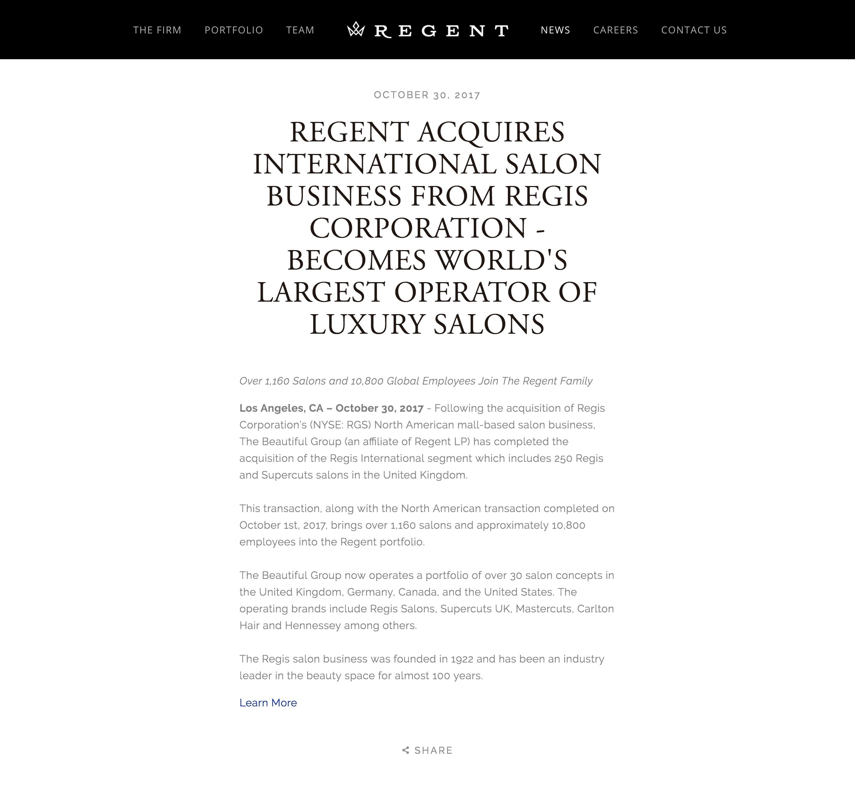 Regent Acquires International Salon Business - Regent, October 30, 2017