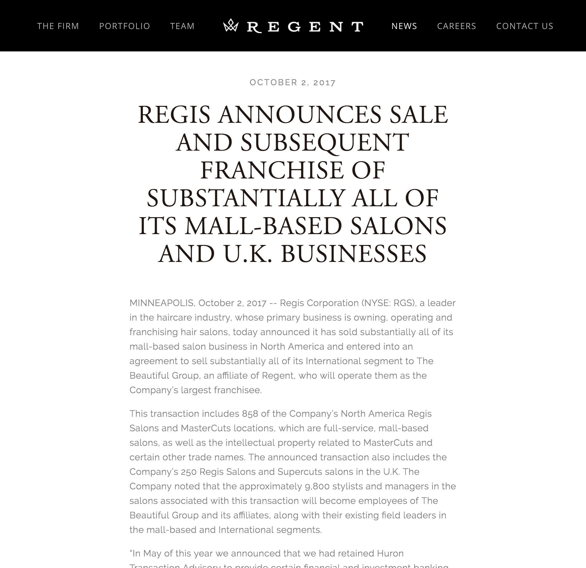 Regis Announces Sale and Subsequent Franchise - Regent, October 2, 2017