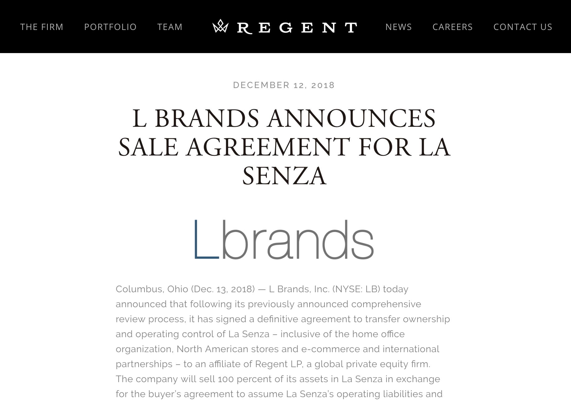 L Brands Announces Sale Agreement for La Senza - Regent, December 13, 2018