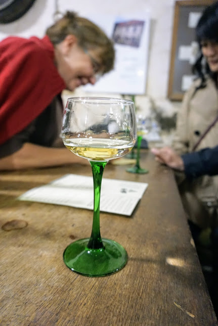 Alsatian white wine glasses, with their signature green stems