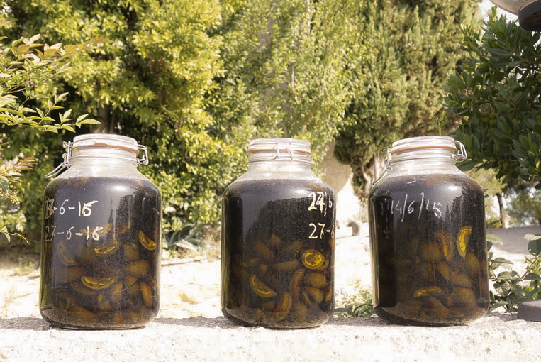 Jars of homemade nocino, or walnut liqueur, in progress.