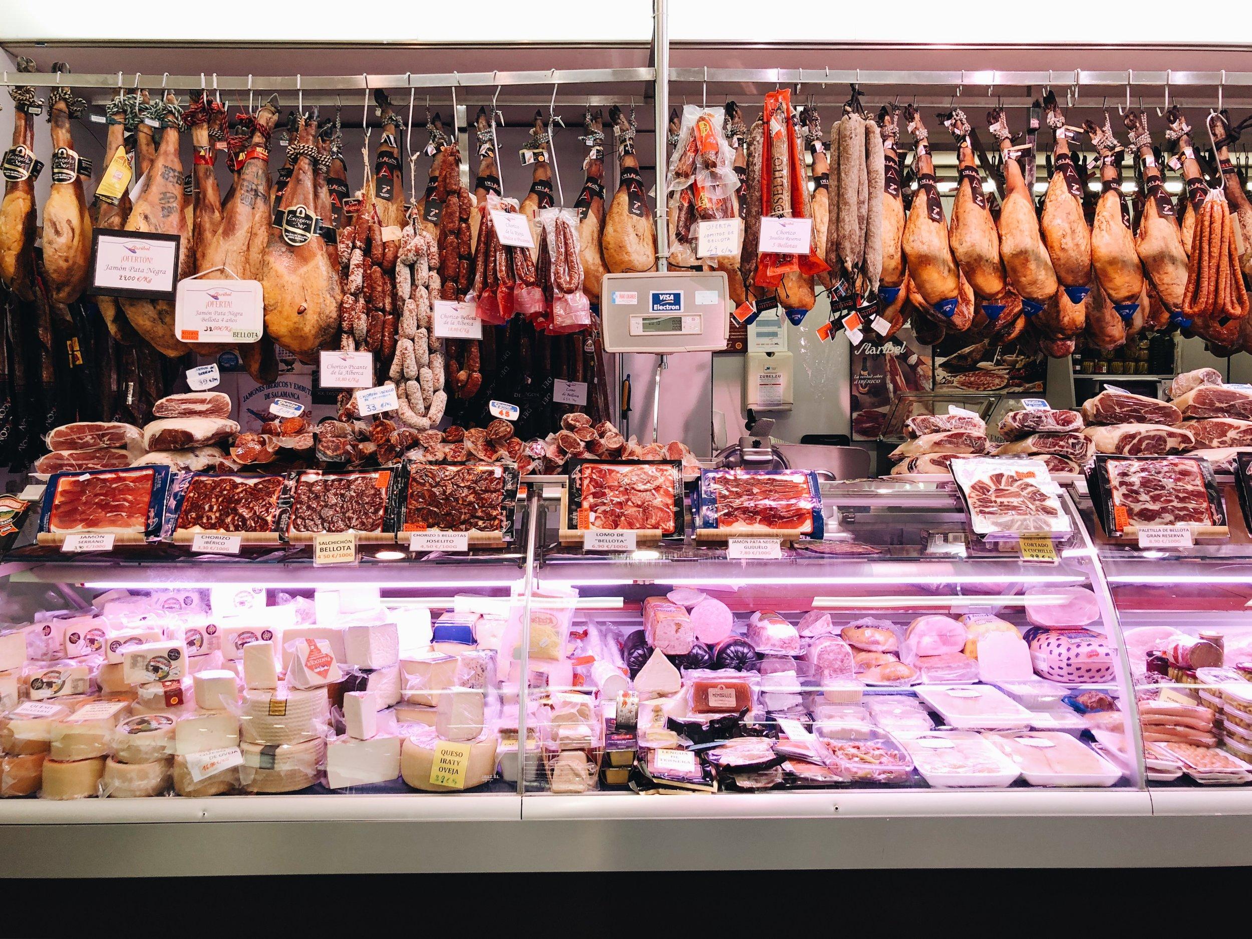 jamon at Mercado de San Martin San Sebastian