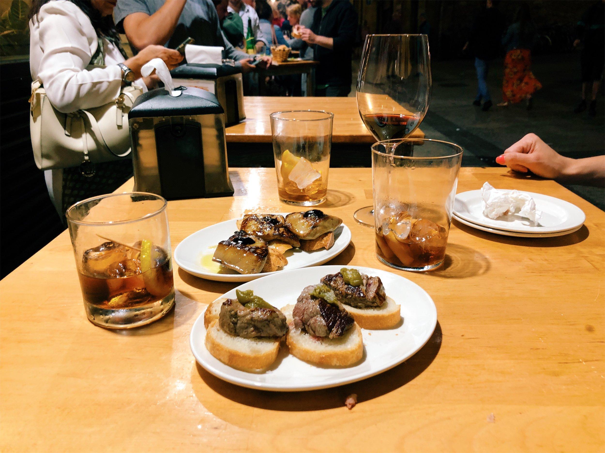 Foie Gras Pintxos at Gandarias in San Sebastian