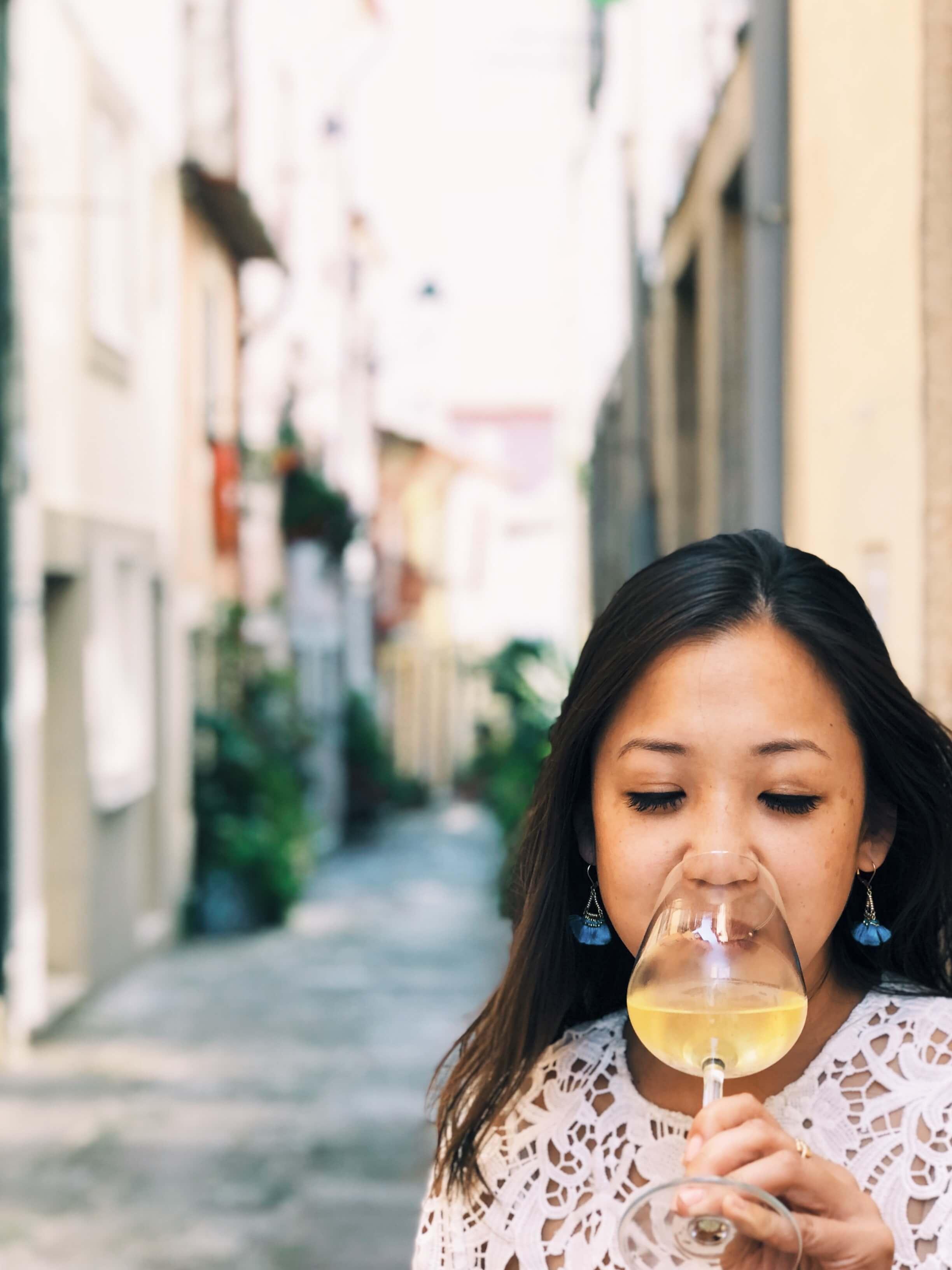 drinking wine in Porto