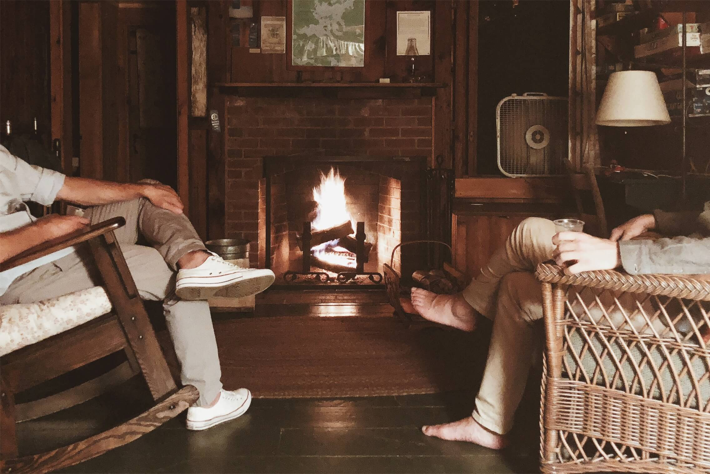 fireplace Rockywold-Deephaven Camps RDC cabin