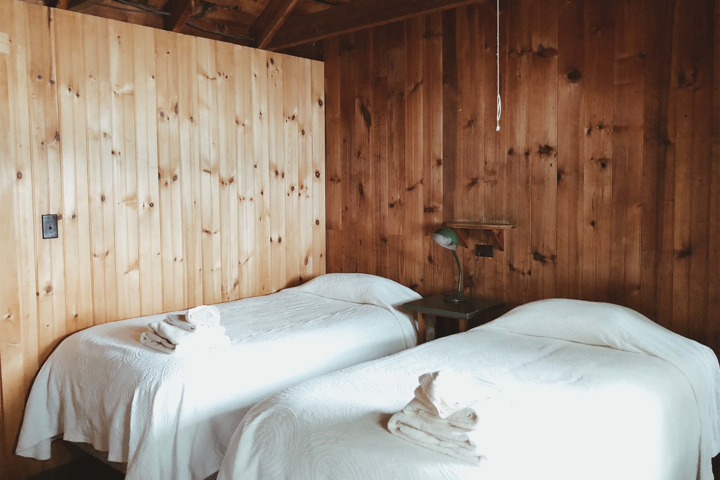 Twin beds at Ark Cabin Rockywold Squam
