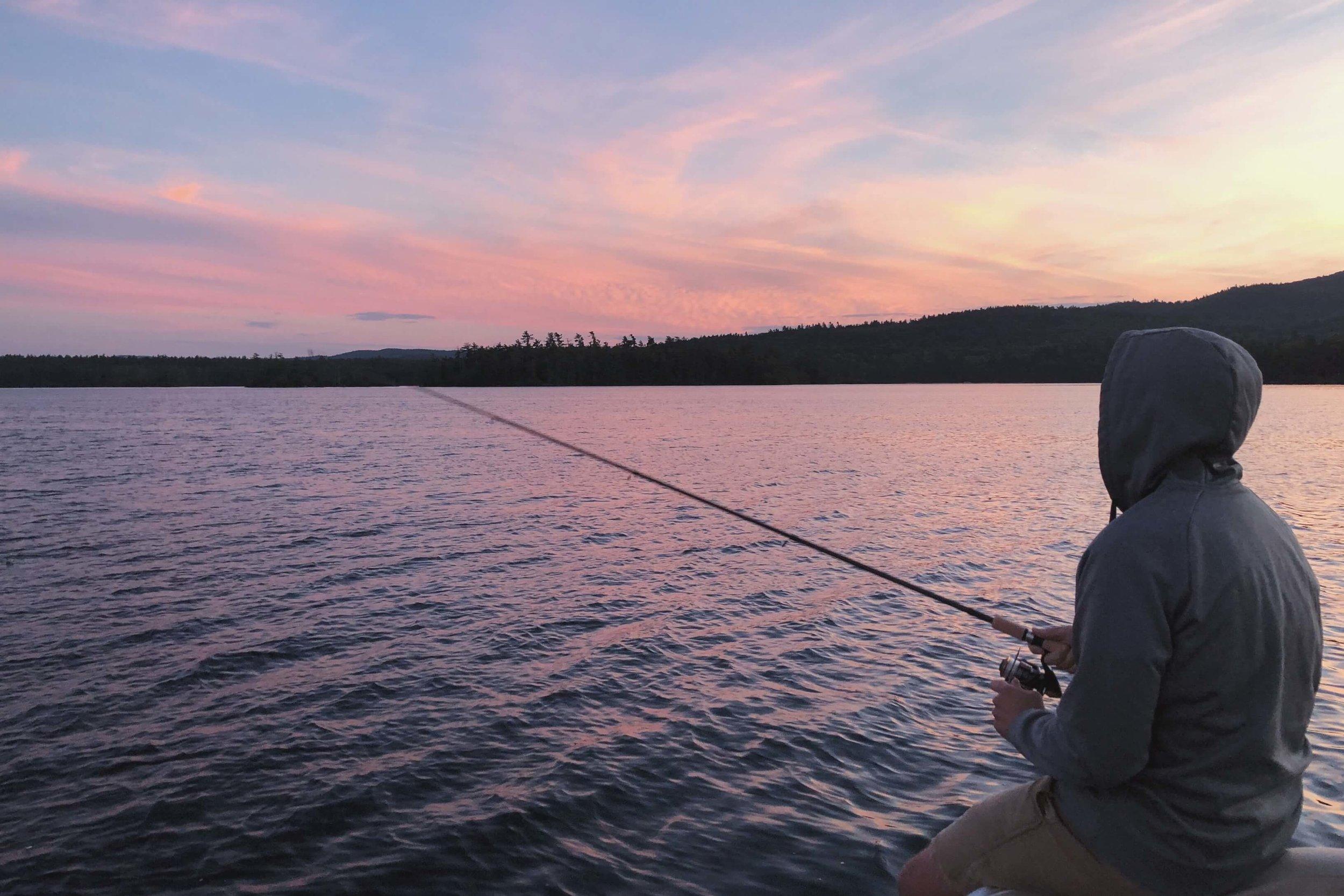 Fishing at sunset on Little Squam