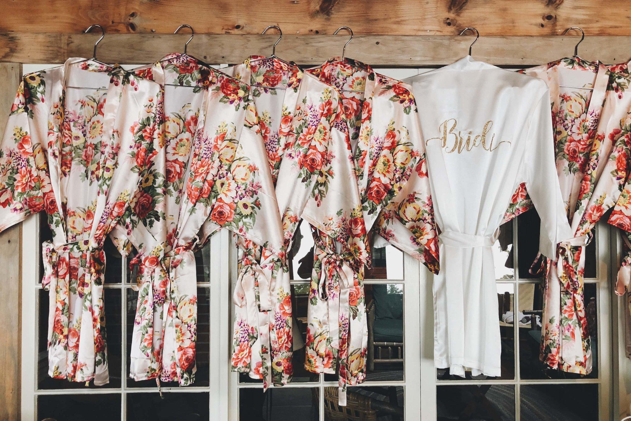 Bridesmaid robes fall wedding Rockywold Deephaven