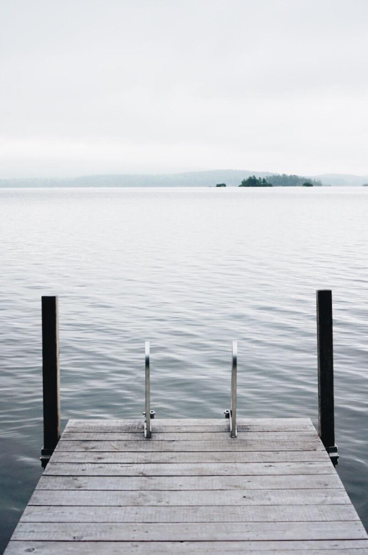 Squam Lake dock at sunrise