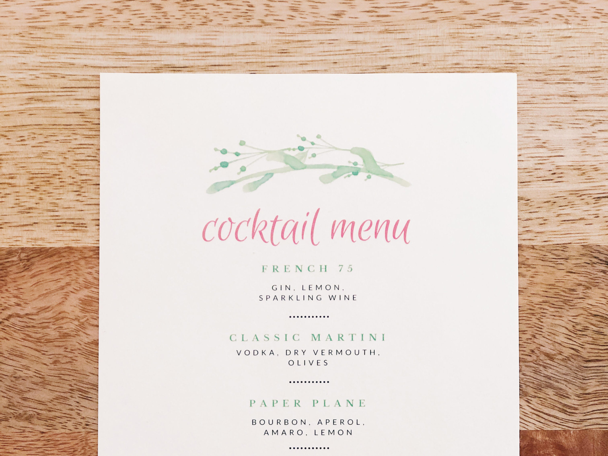 Holiday Home Cocktail Menu