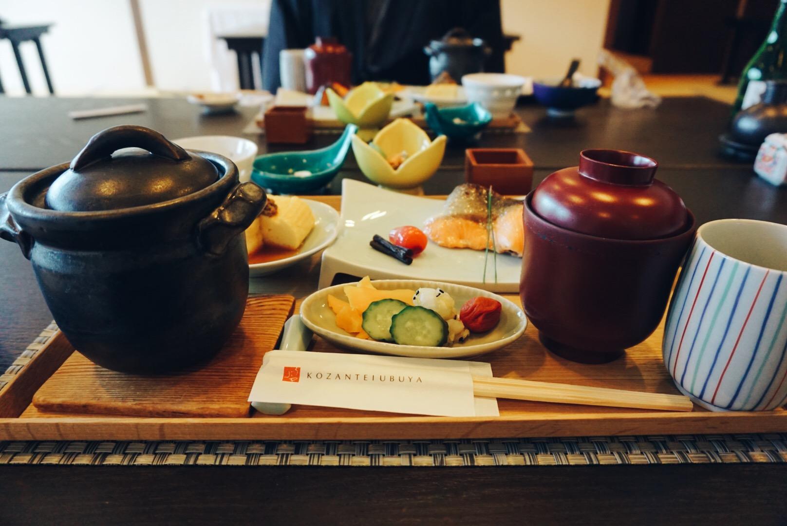 Japanese breakfast ryokan Kozantei Ubuya