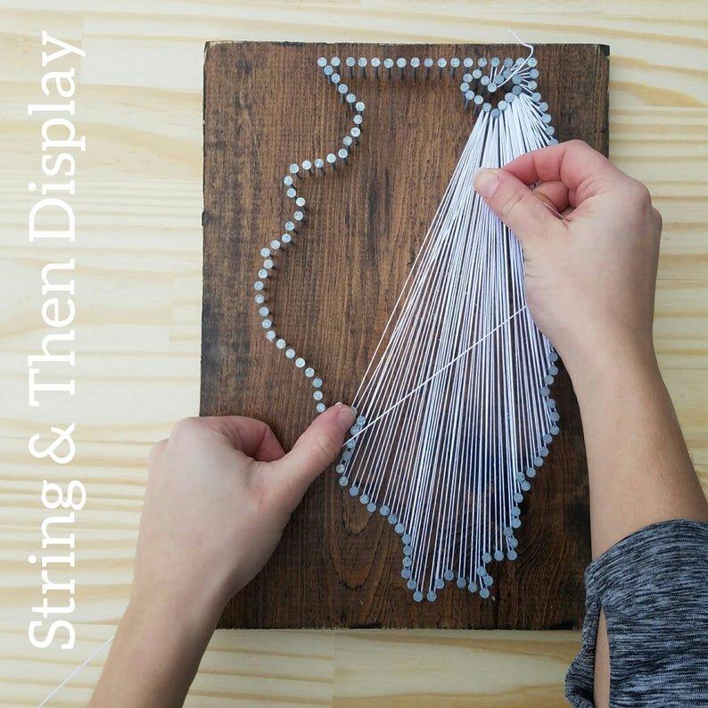 New Hampshire Nail Art custom sign NH love State string Art Kit 9x17 NH home DIY New Hampshire String Art Kit