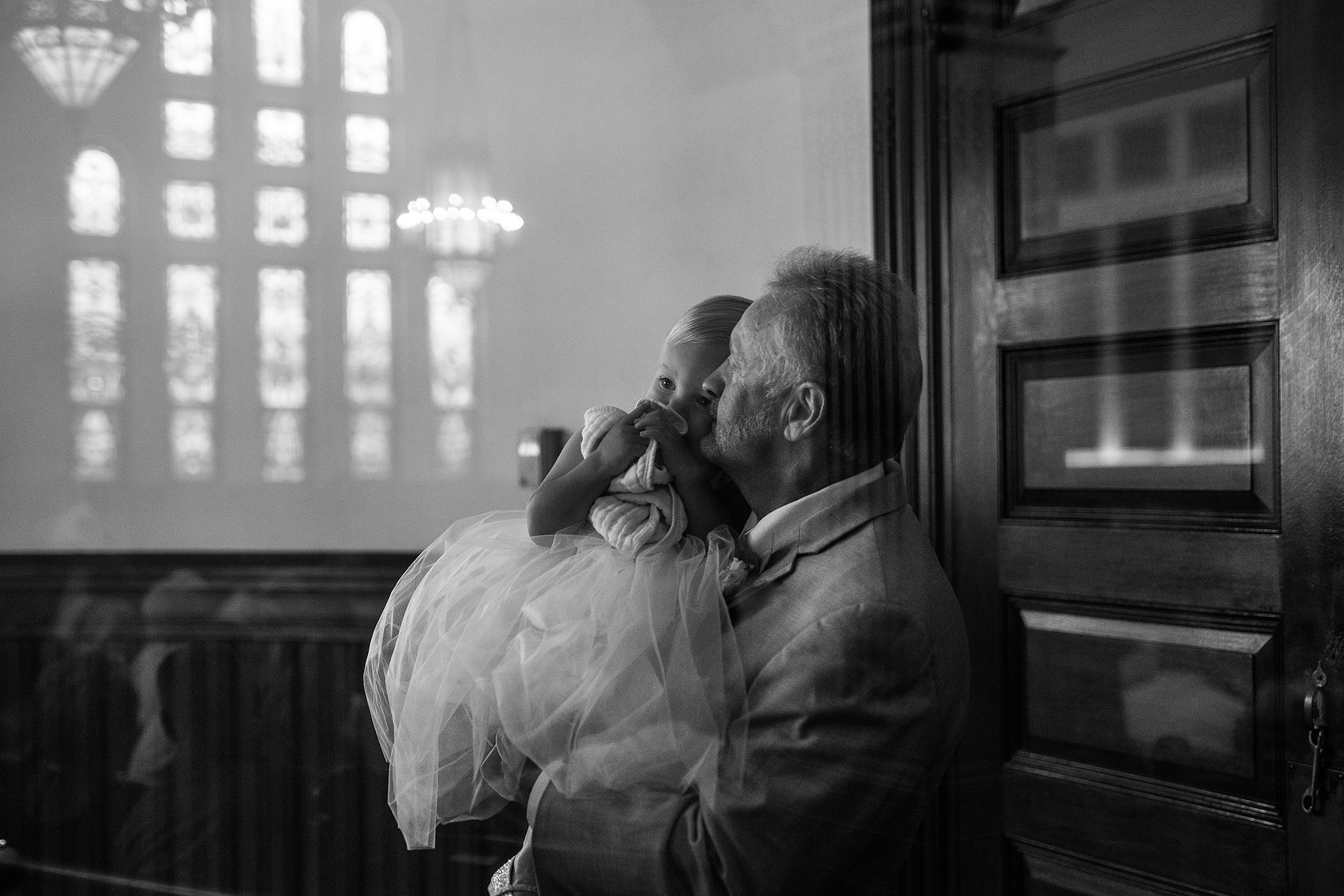 bride father and granddaughter at wedding ceremony