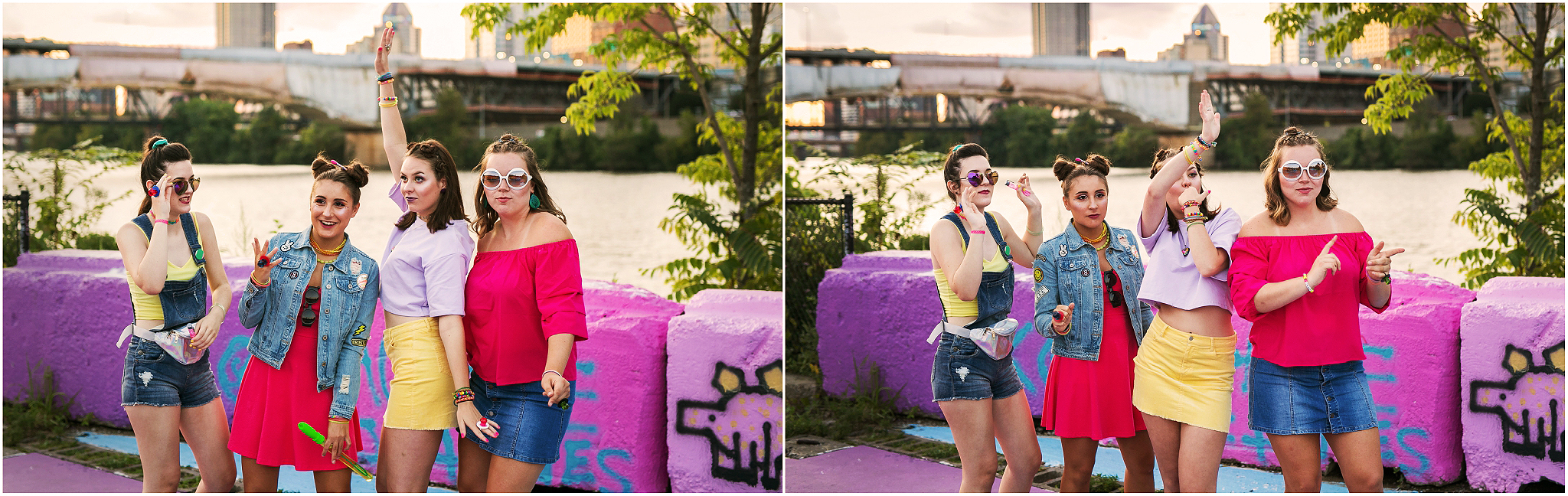 Victoria Irene Photography high school senior representative lisa frank group styled photoshoot at the color park in pittsburgh, Pa