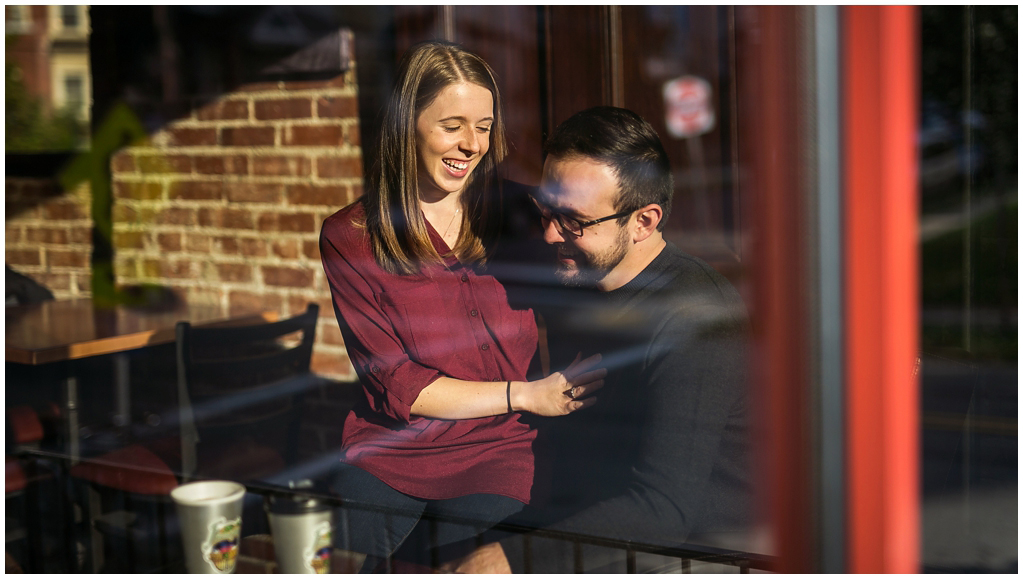 bloomfield coffee shop engagement session at friendship perk and brew pittsburgh pa