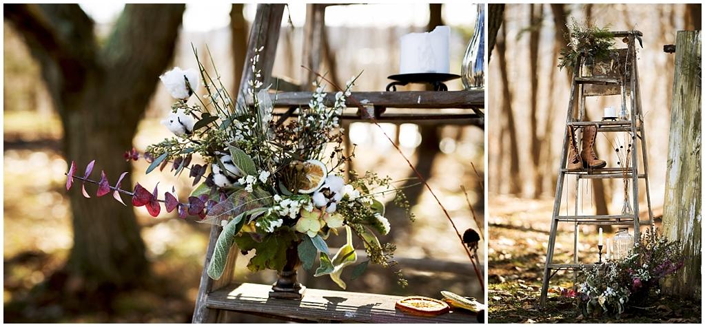winter wedding styled photoshoot pittsburgh pennsylvania vignette details