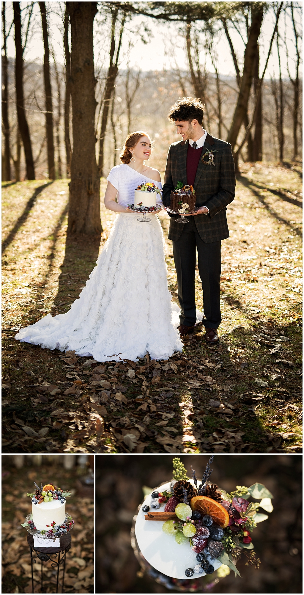 winter wedding styled photoshoot pittsburgh pennsylvania look two cakes