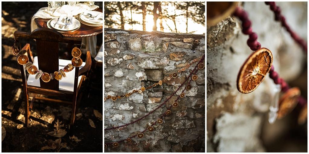 winter wedding styled photoshoot pittsburgh pennsylvania dried oranges