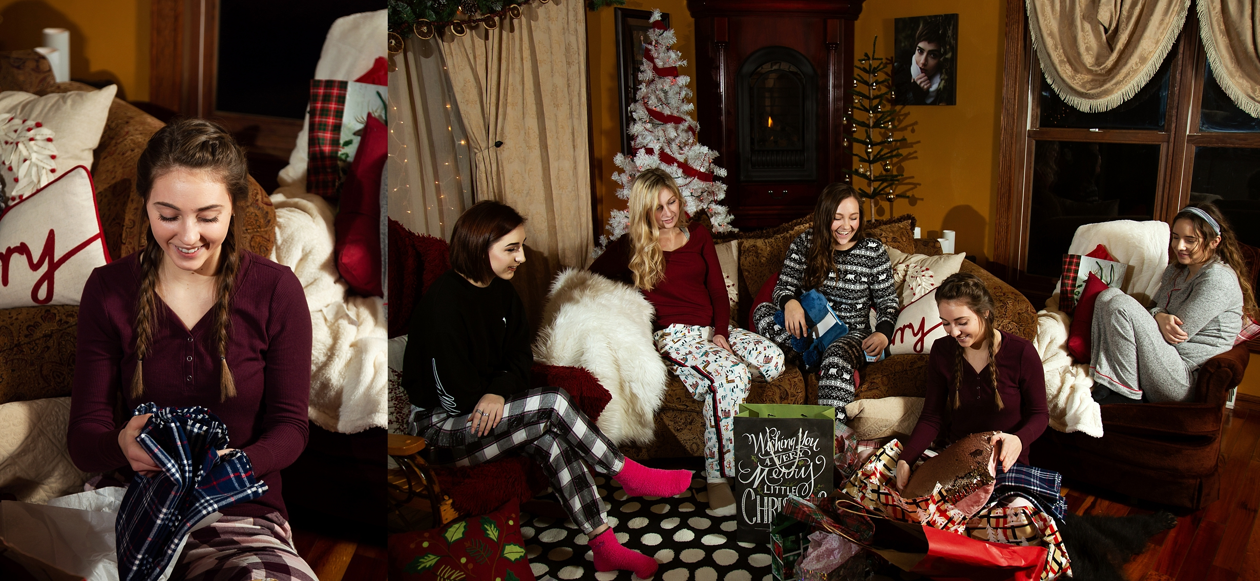2019 VIP Representatives open christmas gifts in a white elephant exchange at Holiday Photoshoot Party