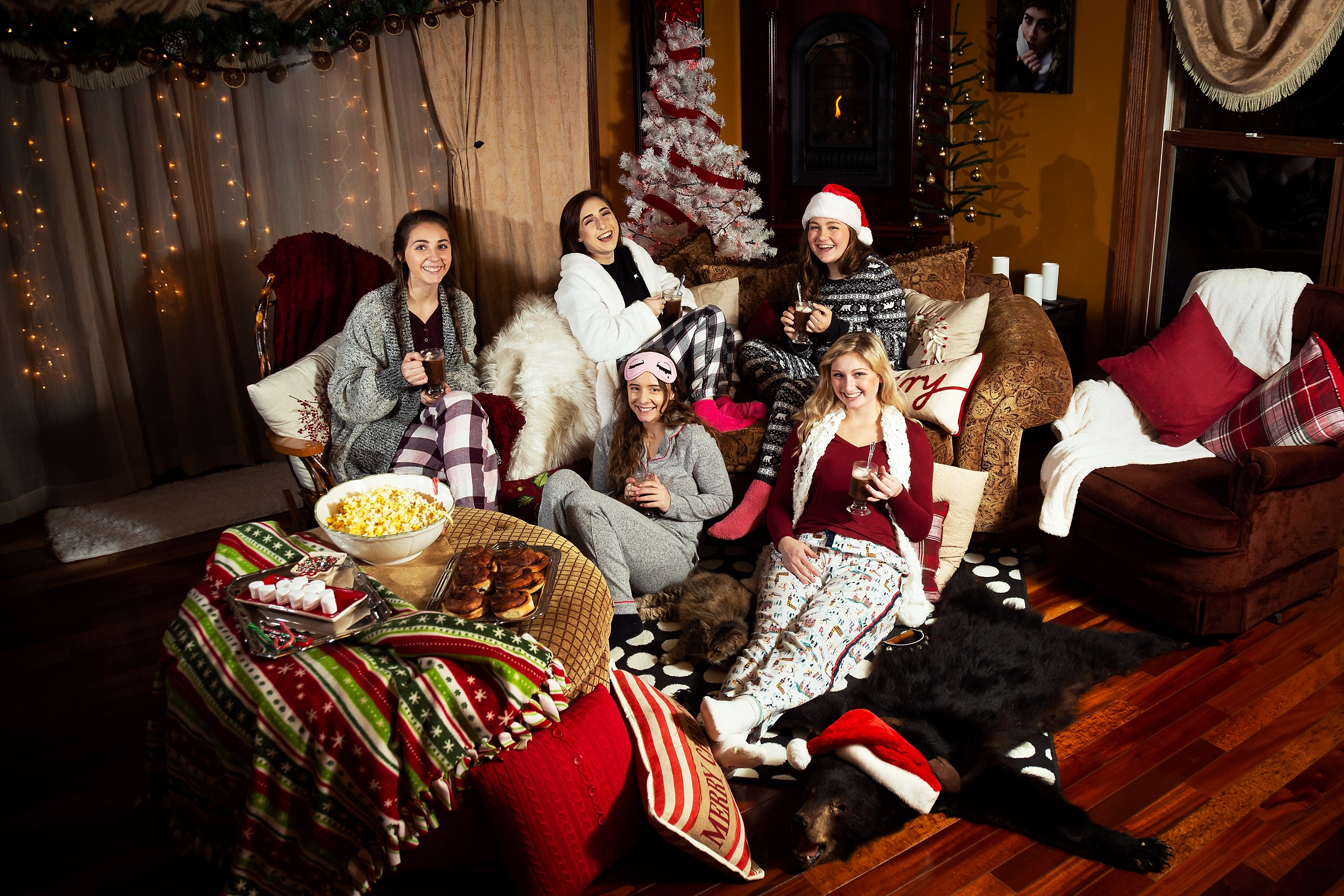 2019 VIP Representatives Christmas Party Group Pajama Photoshoot. Cinnamon Rolls, Popcorn, Hot Cocoa treats