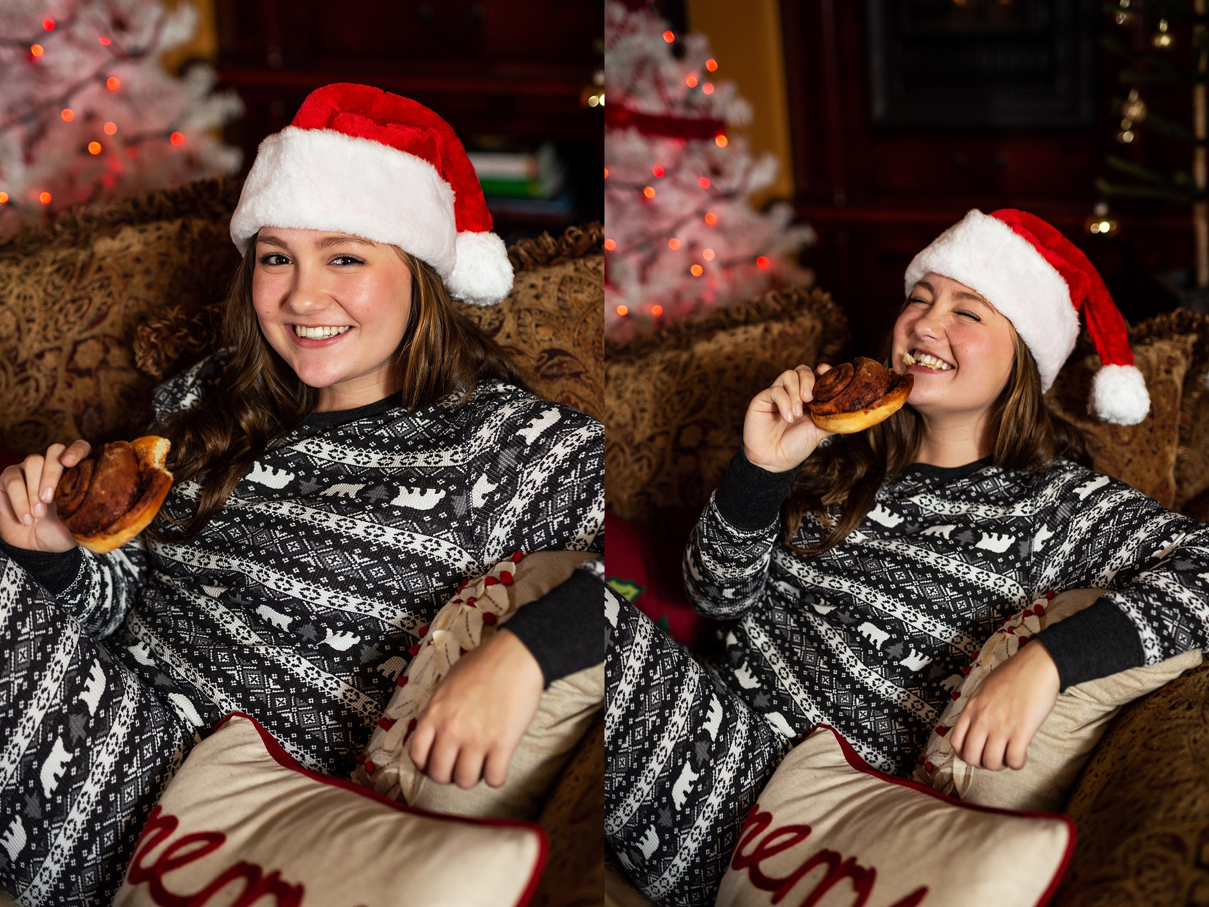 Blake Tonkin, 2019 VIP Representative, eating a freshly bake cinnamon roll at the christmas pajama party and photoshoot