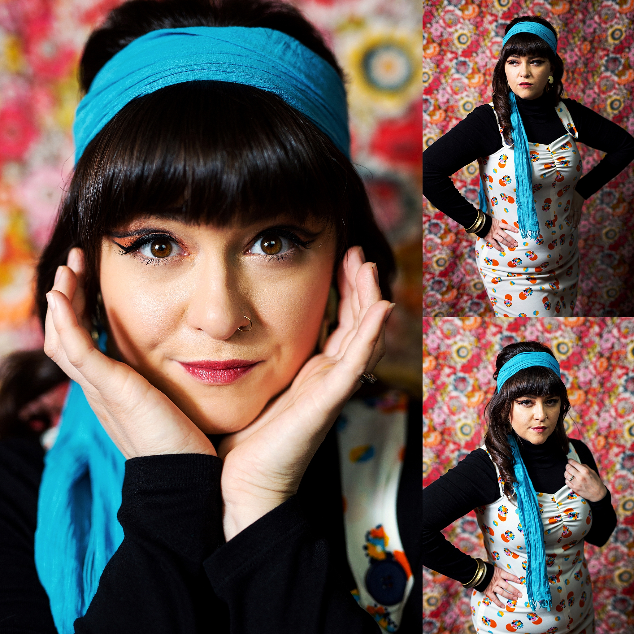 Retro Styling on a Floral Backdrop Pittsburgh Photography Studio Photoshoot