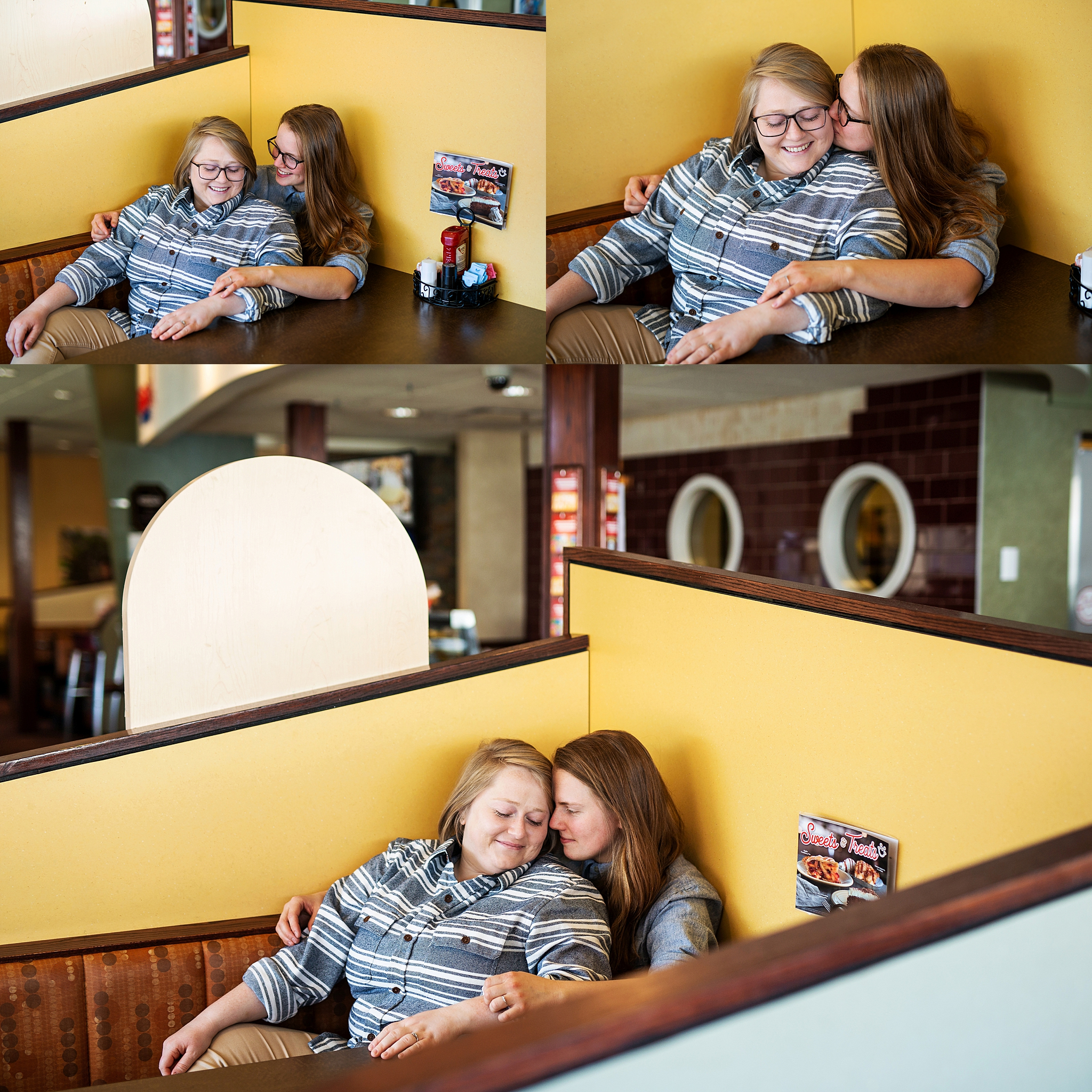 couple cuddles in booth